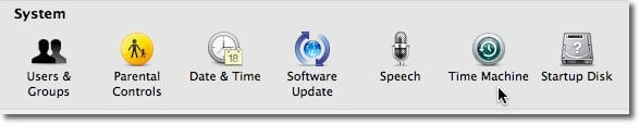 System Preferences System Time Machine