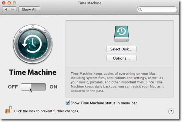 Turn TimeMachine On