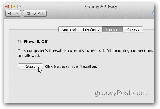 Turn on Firewall