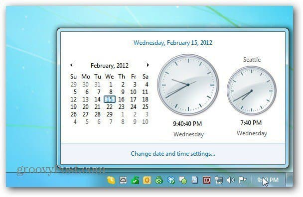 Windows Calendar Clock
