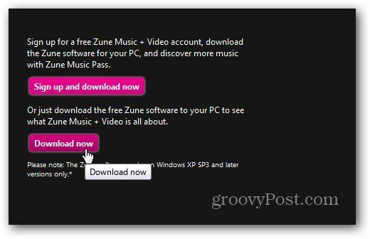 Zune Download Site