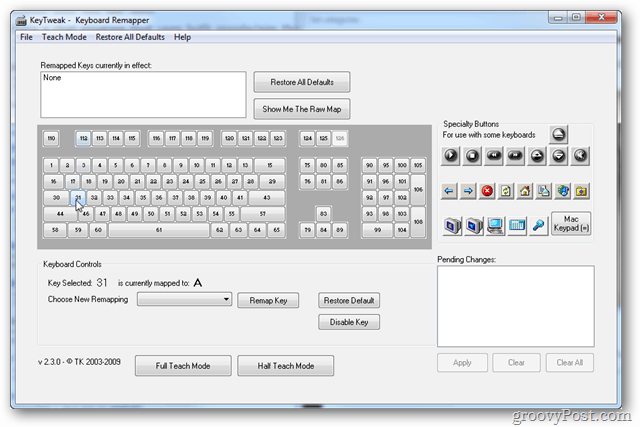 keytweak user interface