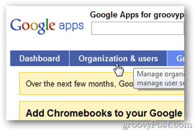 google apps organization and users