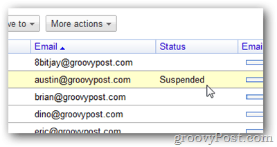 google apps suspended status
