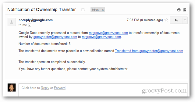 google apps notification of ownership transfer email