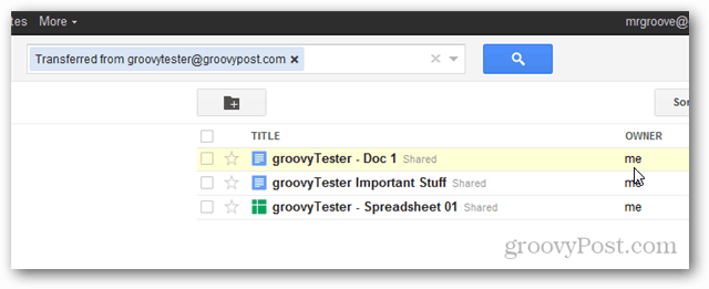google docs new ownership after transfer