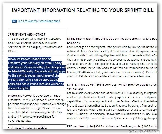 Important sprint bill information