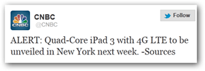 CNBC Twitter Announcement ipad 3