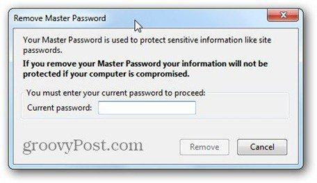 remove master password