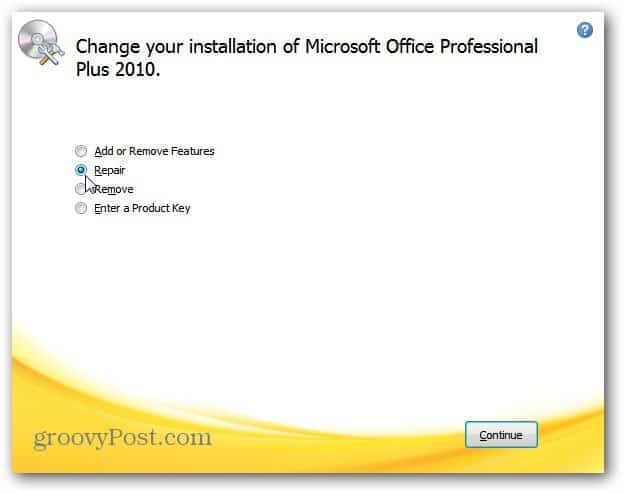 Now wait while MS Office goes through and does a repair installation.