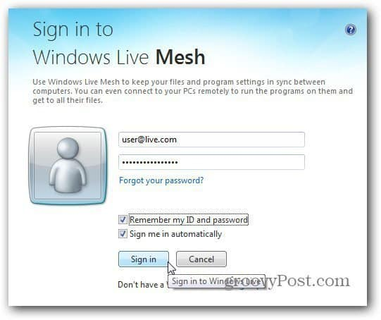 sign in Windows Live