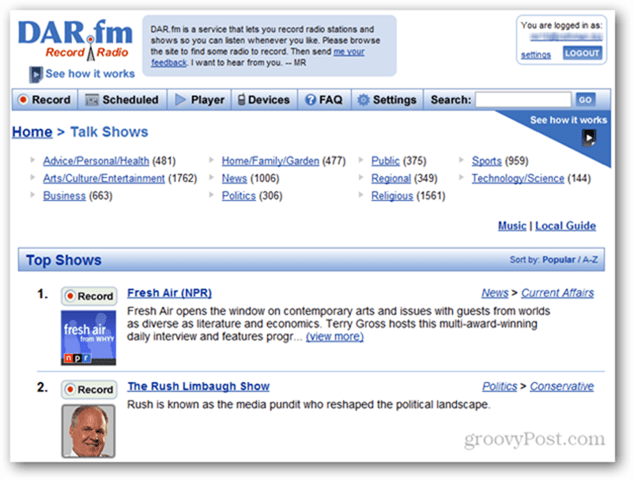 DAR.fm Record Screen