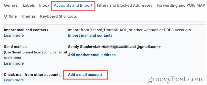 Accounts and Import, click Add a mail account