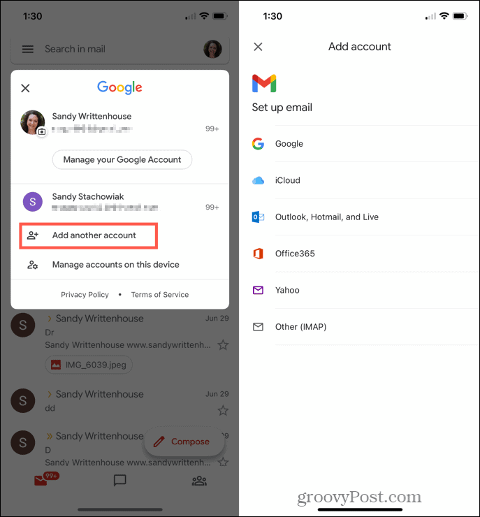 Add another account in Gmail on iPhone