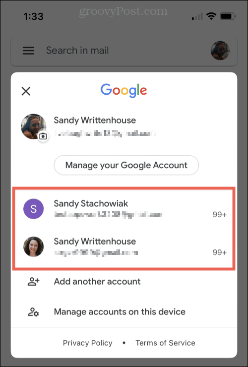 Access multiple email accounts in Gmail on iPhone