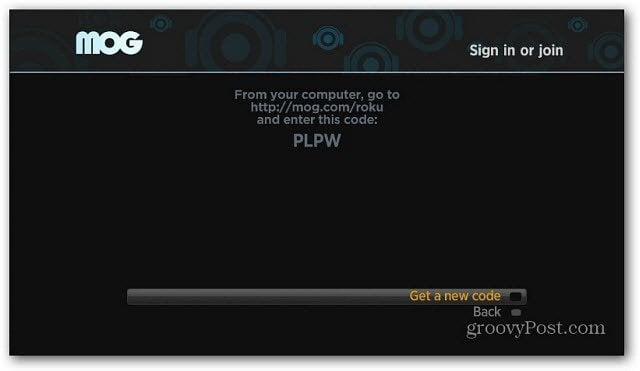 MOG Roku Code