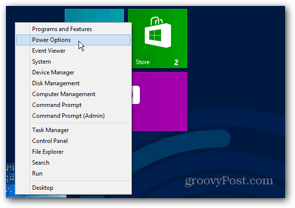 Power menu Windows 8 Start Screen