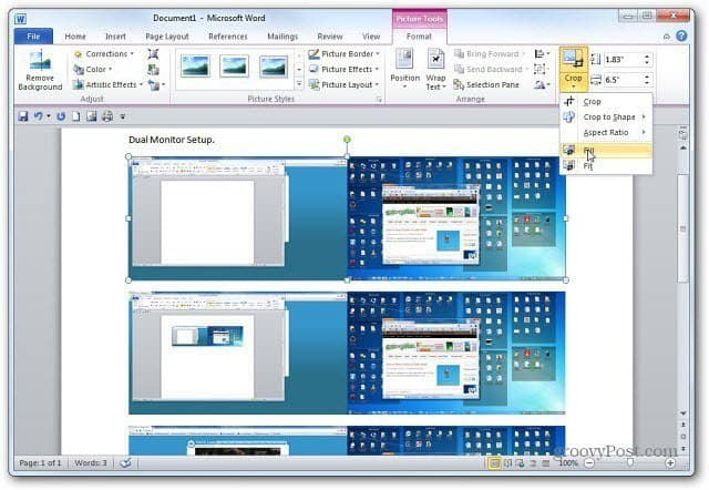 Screenshots in Word
