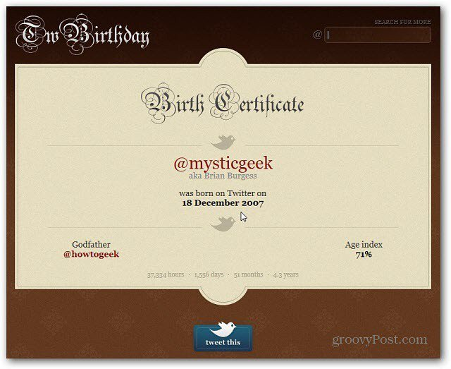 Twitter Birth Certificate