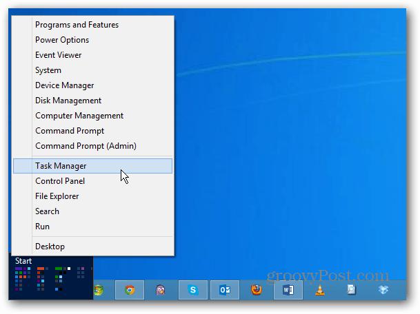 Windows 8 Power User Menu