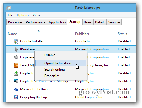 Windows 8 Task Manager Startup Location