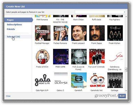 facebook lists create list