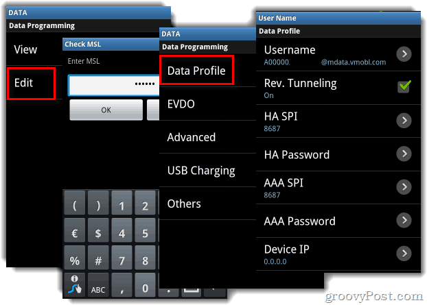 Samsung Intercept Data Menu