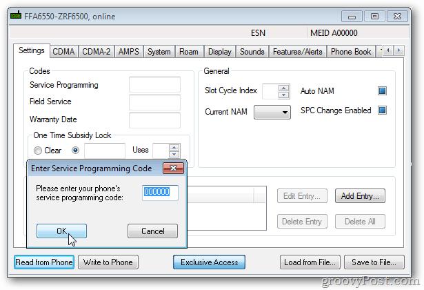 enter service programming code