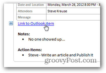 Click Link back to Outlook Calendar Item