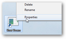 Click properties of shortcut
