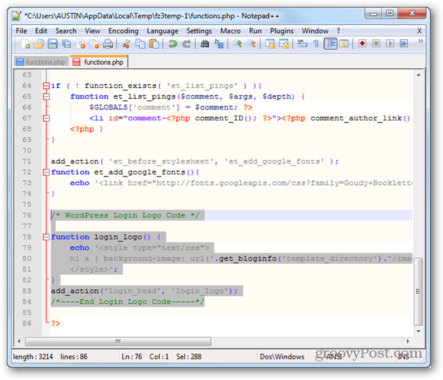 functions.php custom login logo code