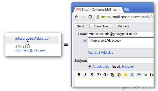 Click email links and automatically compose a new message in Gmail