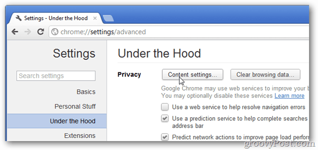 under the hood > content settings