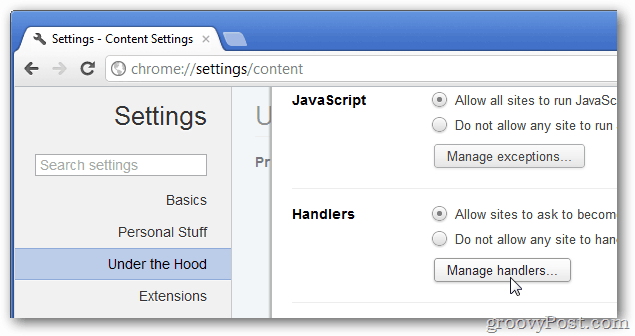 manage handlers in chrome