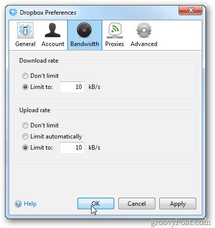 dropbox preferences speed throttle