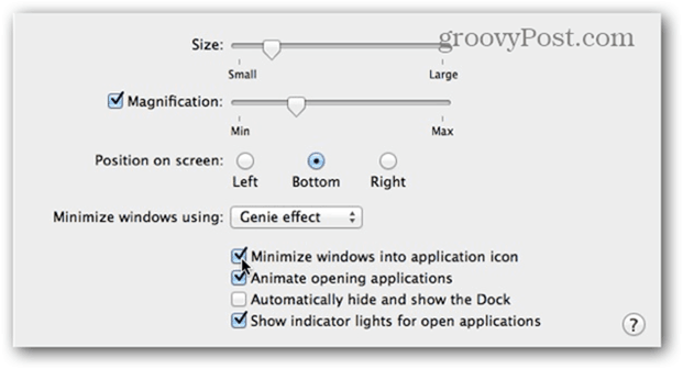 Check the Minimize windows into application icon Box.