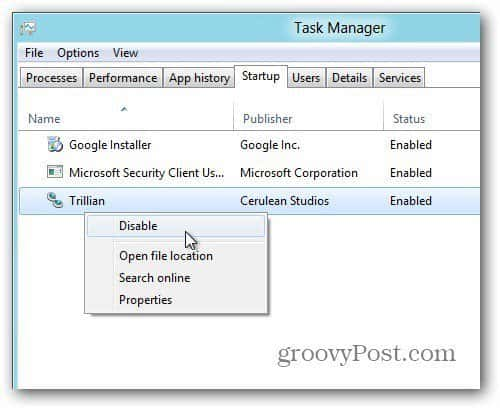 Disable Program in Task manager