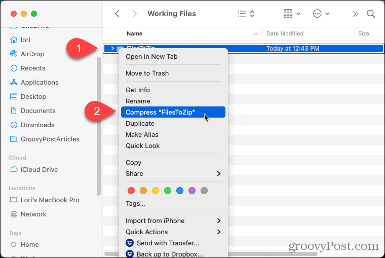 Select Compress on a folder on your Mac