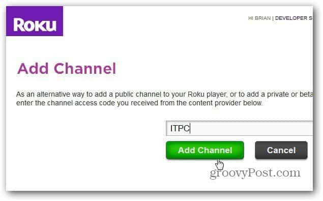 Add Channel Code