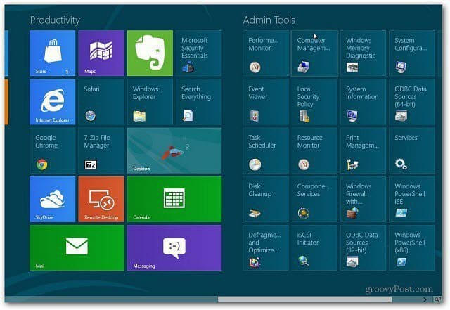 Add Administrative Tools To Windows 8 Start Screen
