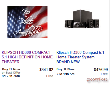 eBay ad for auction of expensive home theater system