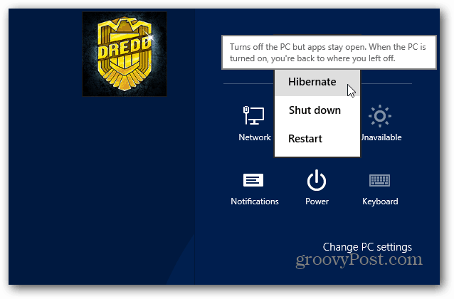 Hibernate Windows 8 Start Button