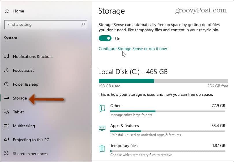 Windows 10 Storage Sense