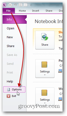 onenote file -> options