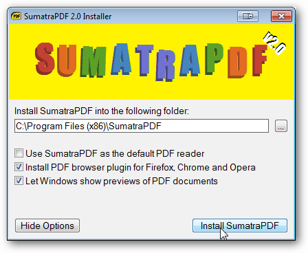 sumatrapdf installation options