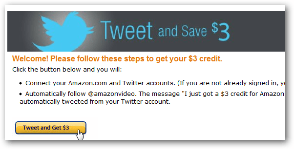 amazon tweet and get video credit