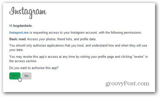instaport instagram allow access