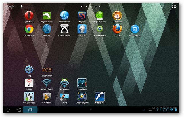 Transformer Prime with Android Web Browsers