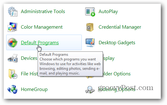 Control Panel Default Programs