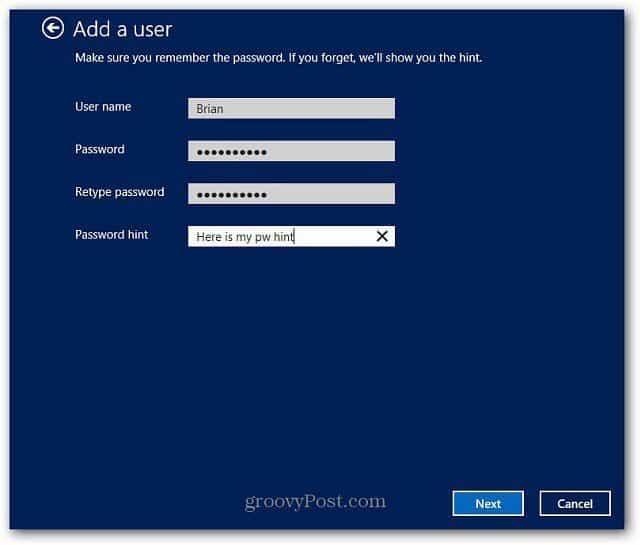 Enter User Data